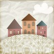 Vector retro background with old houses, place for your text — Stock Vector #10367802