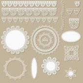 Vecteur d'éléments de conception de dentelle scrapbook — Vecteur