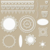 Vector lacy scrapbook design elements — Stock Vector