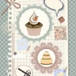 Vector scrapbook with nakin and cakes, toys, and other design el - Image vectorielle