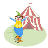 Vector cheerful clown unicycling in front of circus tent — Stock Vector