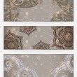 Three vector banners with paisley pattern and place for your tex - Stock Vector