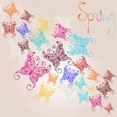 Vector spring background with colorful butterflies — Cтоковый вектор