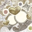 Vector vintage scrap template design with hearts, for valentine — 图库矢量图片