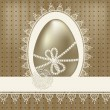 Vector vintage easter greeting card with golden egg and lacy nap — Stock Vector