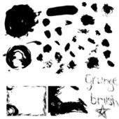 Over 30 grunge brushes with examples — Stock Vector