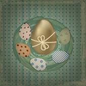 Vettoriale biglietto di auguri di pasqua con uova colorate d'oro e retrò — Vettoriale Stock