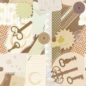 Vector seamless pattern with scrapbook design elements: vintage key, torn pieces of paper, splashes of coffee, napkins — Stock Vector