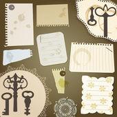 Scrapbook tasarım öğeleri vektör: pap yırtık pices, vintage anahtar — Stok Vektör