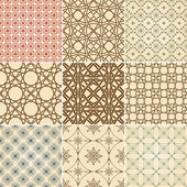 Set of nine vector seamless patterns — Stock Vector