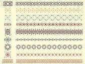 Set of nine vector seamless borders — Stock Vector