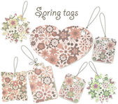 Vector spring tags with floral pattern — Stockvector