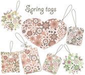 Wektor wiosna tagi z kwiatowy wzór — Wektor stockowy