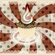 Vector vintage pattern with cupcake and retro background - Stock Vector