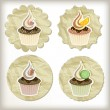 Royalty-Free Stock Vector Image: Vector set of cupcakes on golden napkins