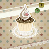 Vector vintage pattern with cupcake and retro background — Stock Vector