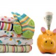 Savings for newborn baby - Stock Photo