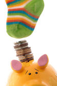 Savings in the bank or hide in the socks — Stock Photo