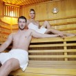 Happy young couple in sauna — Stock Photo #10006619