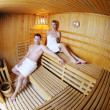 Happy young couple in sauna — Stock Photo #10006689