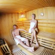 Happy young couple in sauna — Stock Photo #10006824