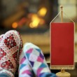 Young romantic couple relax on sofa in front of fireplace at hom — Stock Photo