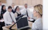 Business woman giving presentation — Stock Photo