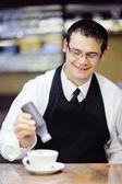 Barista prepares cappuccino — Stock Photo