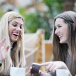 Cute smiling women drinking a coffee - Stock Photo