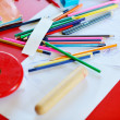 Child education colorful pencil background — Stock Photo