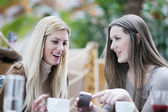 Cute smiling women drinking a coffee — Stock Photo