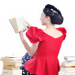 Beautiful young woman read book — Stok fotoğraf