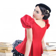 Beautiful young woman read book — Stock Photo