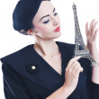 Beautiful young woman with paris symbol eiffel tower — Stock Photo #8022707