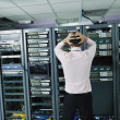 System fail situation in network server room — Stock fotografie