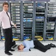 Stock Photo: System fail situation in network server room
