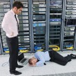 System fail situation in network server room — Stock Photo #8338421