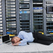 System fail situation in network server room - Stock Photo