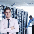 It enineers in network server room — Stock Photo #8338577