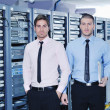 It enineers in network server room — Stock Photo #8338663