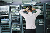 System fail situation in network server room — 图库照片