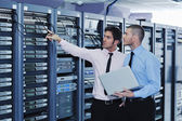 It enineers in network server room — Stok fotoğraf