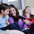 Happy young family have fun at home — Foto Stock