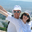 Happy young couple tourists in greece — Stock Photo #8492788