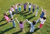 Preschool kids outdoor have fun — Stock Photo