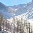 High mountains under snow in the winter — Foto de Stock