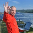 Foto Stock: Engineer using laptop at solar panels plant field