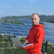 Male solar panel engineer at work place — Foto Stock