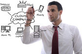 Business man draw cloud computing chart — Stock Photo