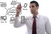 Business man draw cloud computing chart — Stock Photo